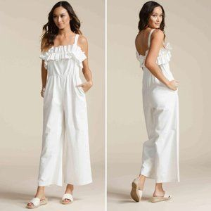Luca Couture Gia Culotte White Linen Jumpsuit